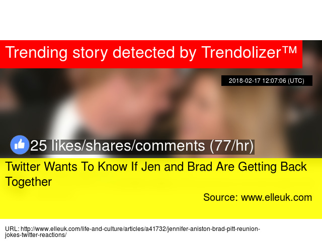 Twitter Wants To Know If Jen and Brad Are Getting Back Together